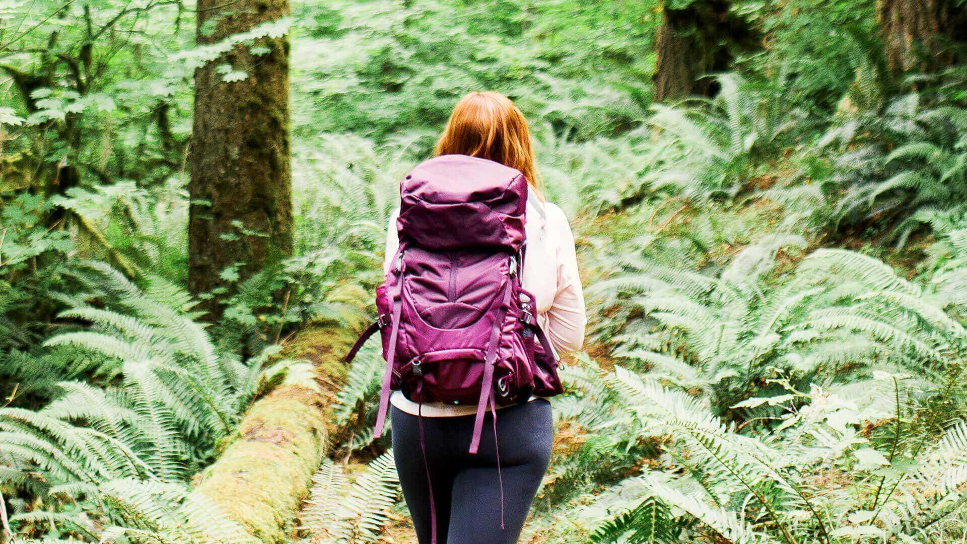 A red headed woman is hiking in a lush green forest wearing a purple backpack