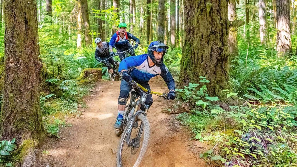 Three men ride mountain bikes down a dirt trail surrounded by large trees and foliage