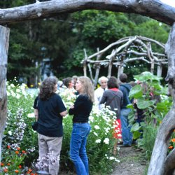 People mingle beneath gnarled wooden arches and amid tall plants and flowers at a garden gathering.