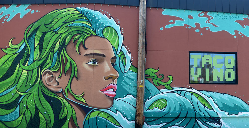 Mural of woman with water hair